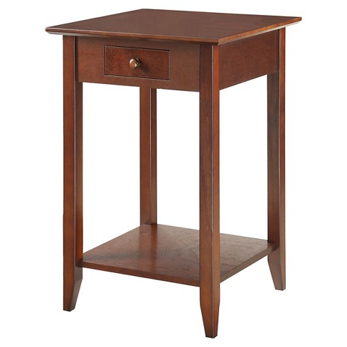 American Heritage End Table With Drawer And Shelf Espresso Johar Furniture