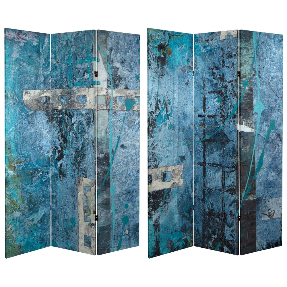 Oriental Furniture 6' Tall Double Sided Blue Dream Canvas Room Divider Blue