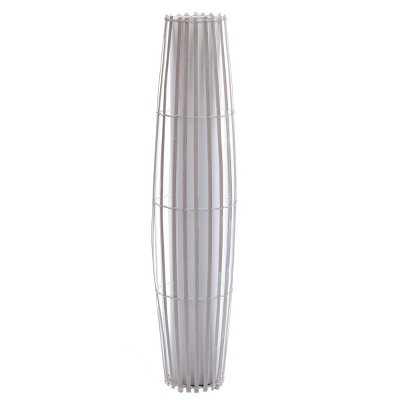 Tall Fabric Inside Table Lamp with Rattan Outer Shade Uplight White- StyleCraft