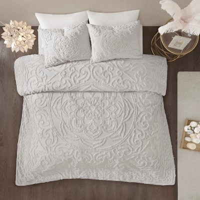 3pc Queen Cecily Cotton Medallion Comforter Set Gray
