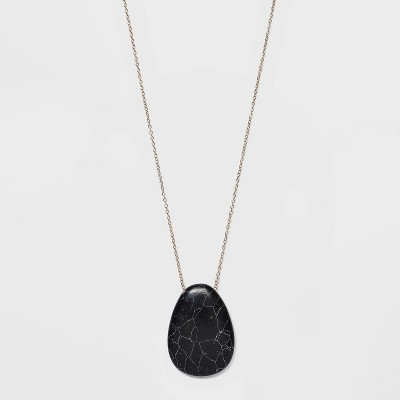 Semi-Precious Black Howlite Pendant Necklace - Universal Thread™ Black