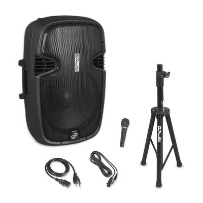 Pyle PPHP155ST 1500 Watt Portable Bluetooth PA Loud Speaker System with Convenient Carry Handle, Speaker Tripod Stand, and Wired Microphone, Black