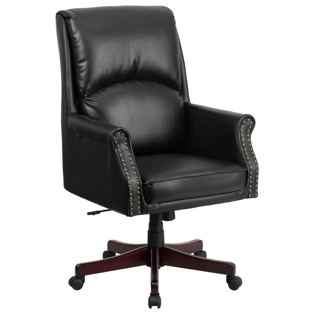 High Back Pillow Back Black Leather Executive Swivel Office Chair - Flash Furniture