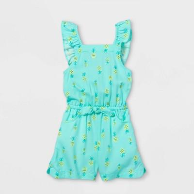 Toddler Girls' Pineapple Ruffle Sleeve Romper - Cat & Jack™ Mint