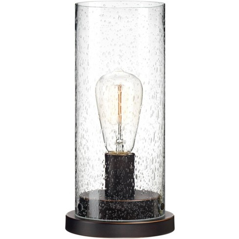 """360 Lighting Rustic Accent Table Lamp 12"""" High Bronze Metal Round Seedy Glass Cylinder Shade LED Edison Bulb for Bedroom Office - image 1 of 4"""