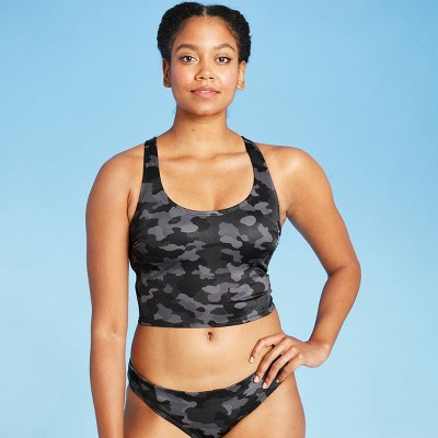 Women's Longline Racerback Bikini Top - All in Motion™ Black Camo Print