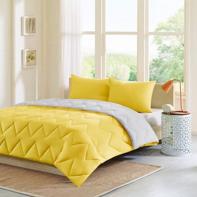 Gray/Yellow Penny Reversible Down Alternative Comforter Mini Set Full/Queen 3pc