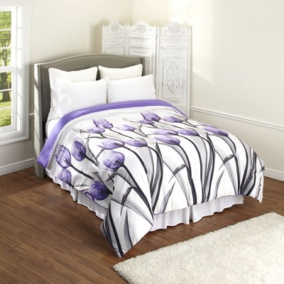 Lakeside Plump Purple Tulip Bed Comforter with Floral Accents