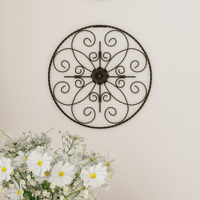 14  Round Medallion Metal Wall Art Almost Black - Lavish Home