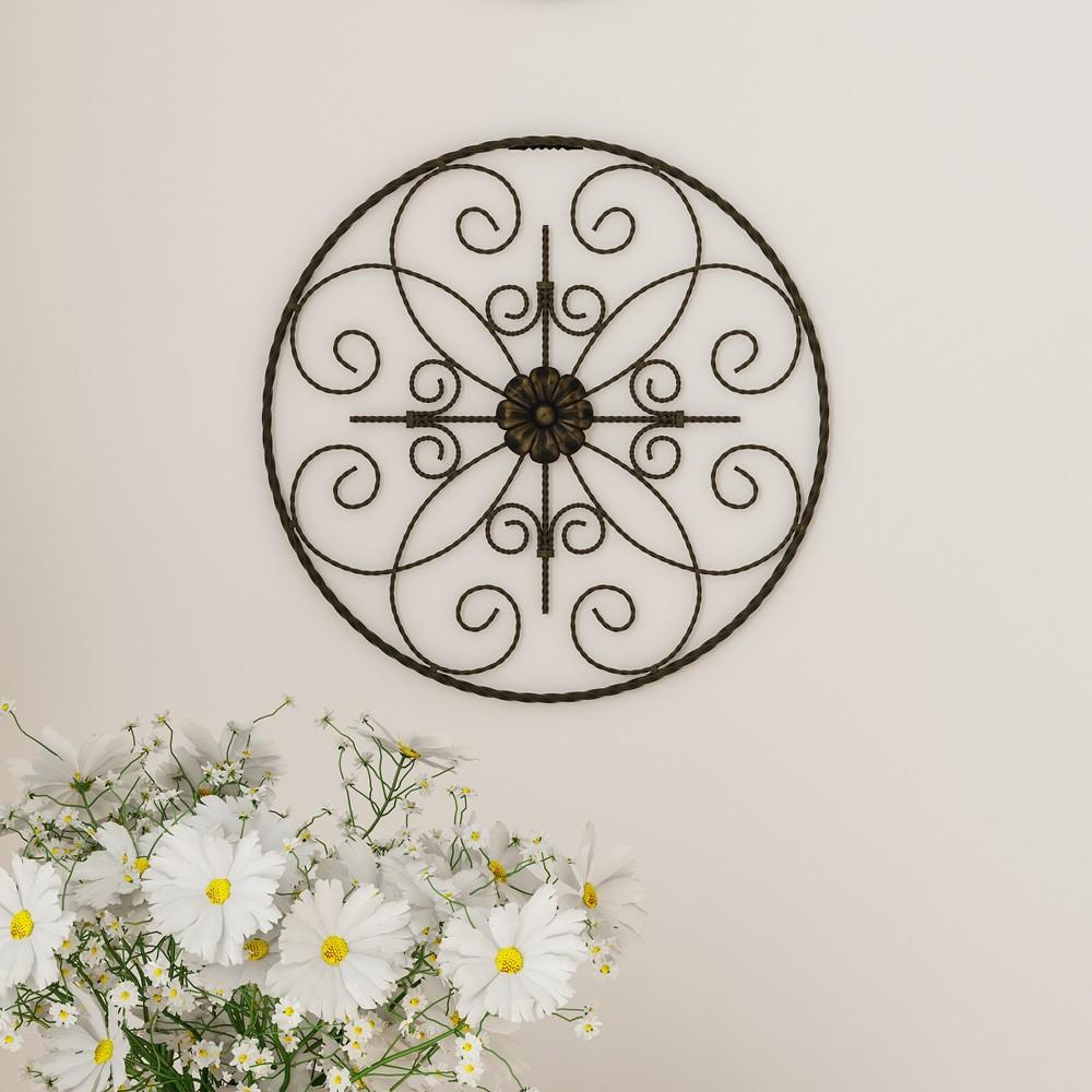 "Image of ""14"""" Round Medallion Metal Wall Art Almost Black - Lavish Home"""