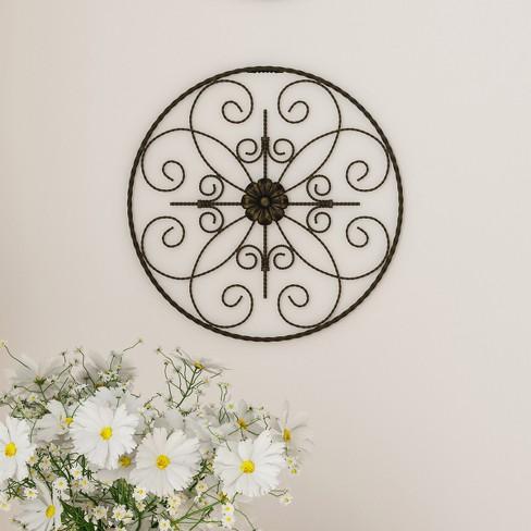 "14"" Round Medallion Metal Wall Art Almost Black - Lavish Home - image 1 of 3"
