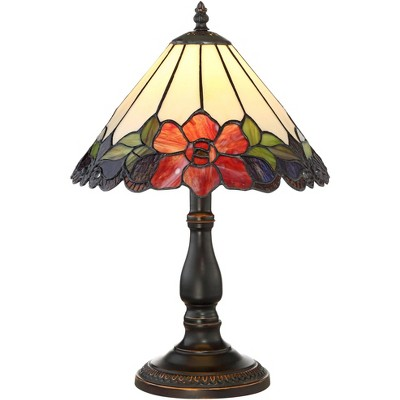 "Robert Louis Tiffany Traditional Accent Table Lamp 17 1/2"" High Bronze Floral Glass Art Shade for Bedroom Nightstand Office"