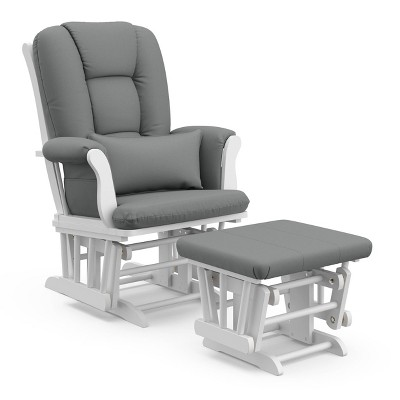 Storkcraft Tuscany White Frame Glider and Ottoman