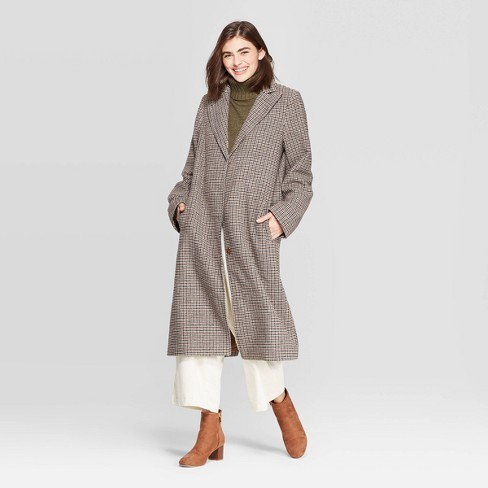 Women's Plaid Single Breasted Top Coat - A New Day™ Brown - image 1 of 2