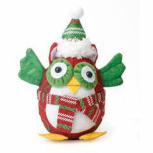 "Northlight 7.5"" Decorative Red and Green Owl with Scarf and Hat Christmas Table Top Figure - image 1 of 1"