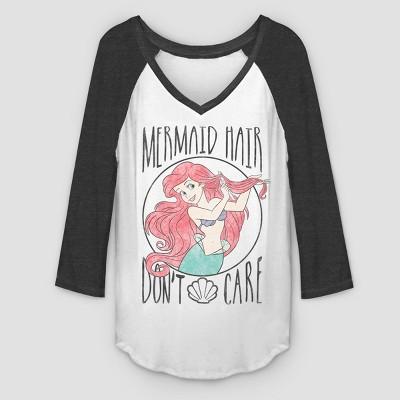 Women's 3/4 Sleeve Mermaid Hair Raglan T Shirt   White/Black by Shirt
