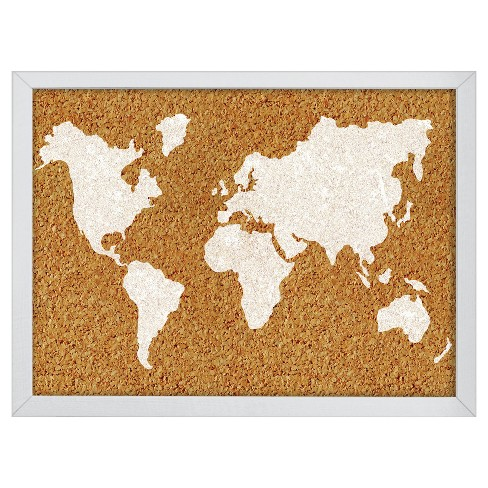 "Wall Pops! ® Cork Bulletin Board White Frame 23.5"" x 17"" - World Map - image 1 of 2"