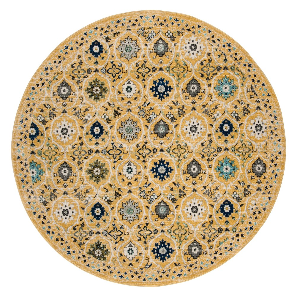 6'7 Floral Loomed Round Area Rug Gold/Ivory - Safavieh