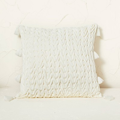 Velvet Dimensional Chevron Pattern Square Throw Pillow - Opalhouse™ designed with Jungalow™