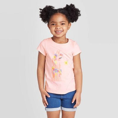 Toddler Girls' Short Sleeve Floral Llama T-Shirt - Cat & Jack™ Light Pink 12M