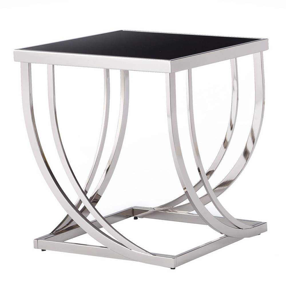 Tyron Steel Arch Curved Sculptural End Table Black - Inspire Q