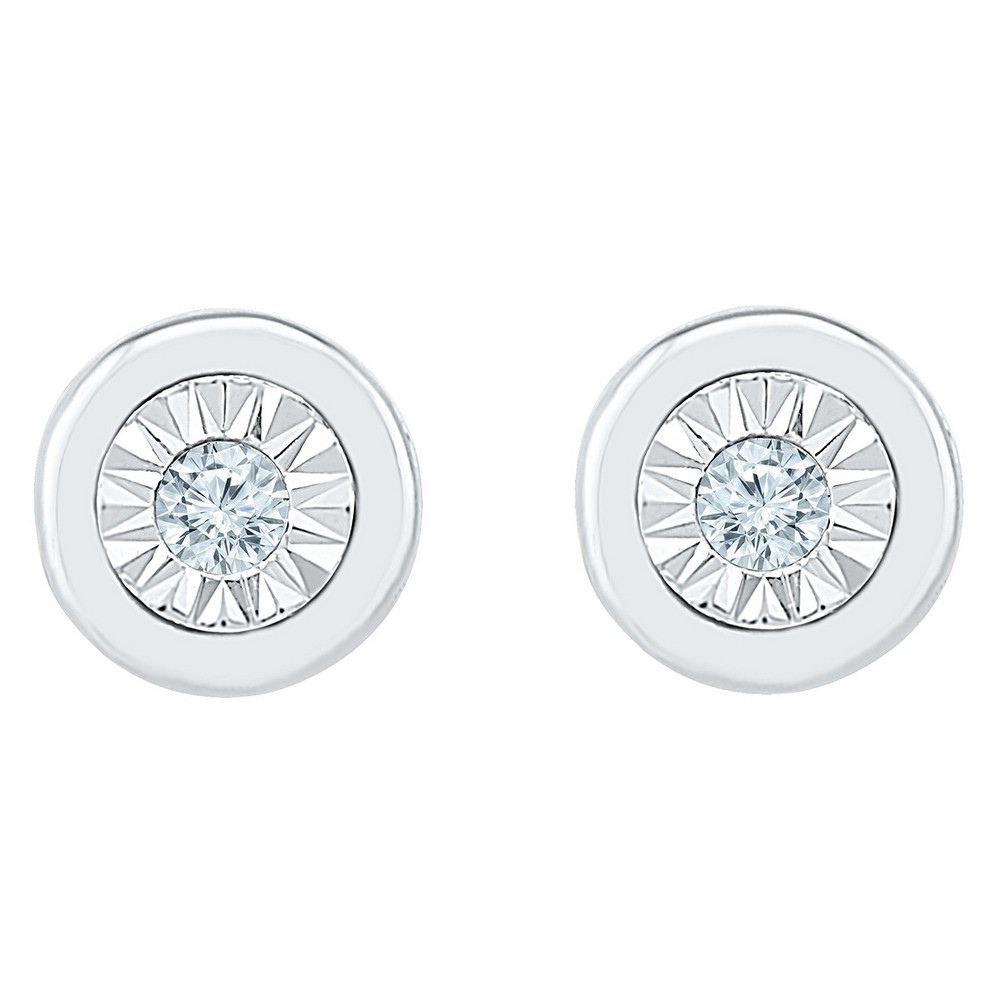 Diamond Accent Round White Fashion Button Earrings in Sterling Silver (I-J,I2-I3), Women's