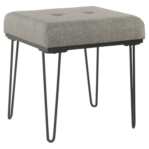 Mid Mod Square Stool Metal Hairpin Leg Grey Homepop