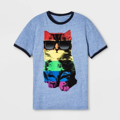 pride-adult-short-sleeve-rainbow-cat-ringer-gender-inclusive-t-shirt---sky-blue by shirt