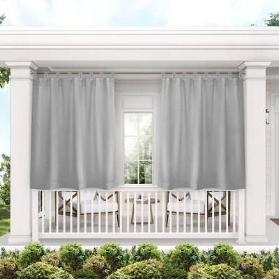 Set of 2 Indoor/Outdoor Solid Cabana Tab Top Curtain Panels Gray - Exclusive Home