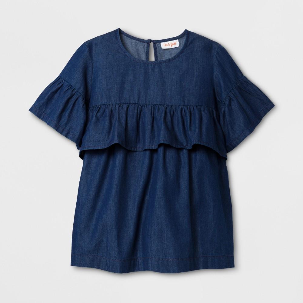 Plus Size Girls' Short Sleeve Ruffle Woven Denim Top - Cat & Jack Blue Xxl Plus