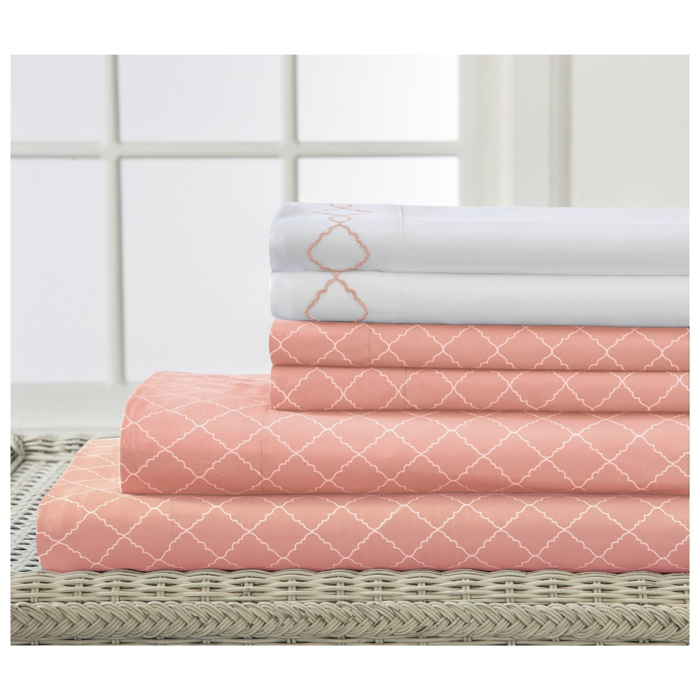 Revina Embroidered Microfiber Sheet Set (King) Apricot (Pink) - Elite Home Products