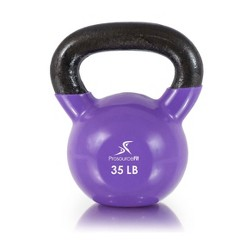 Prosource Fit 35 Pound Vinyl Coated Easy Grip Solid Cast Iron Kettlebell, Purple
