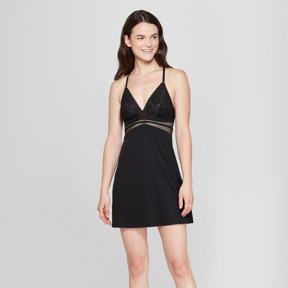 Women's Lightly Lined Chemise Black L