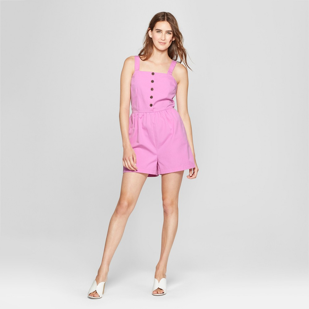 Women's Button Front Apron Neck Romper - Who What Wear Pink XL was $32.99 now $11.54 (65.0% off)