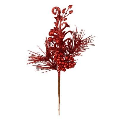 Vickerman Berry Glitter Leaf Artificial Christmas Pick