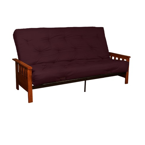 "Mission 8"" Cotton/Foam Futon Sofa Sleeper - Walnut Wood Finish - Twill Burgundy Upholstery - Full-Size - Sit N Sleep - image 1 of 4"