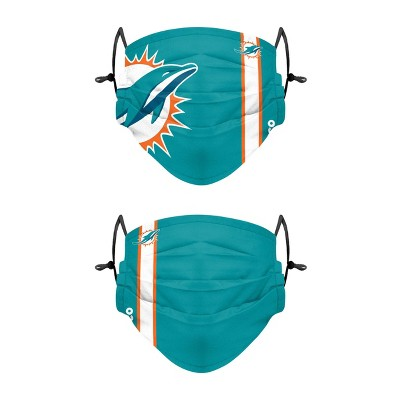 NFL Miami Dolphins Adult Gameday Adjustable Face Covering - 2pk