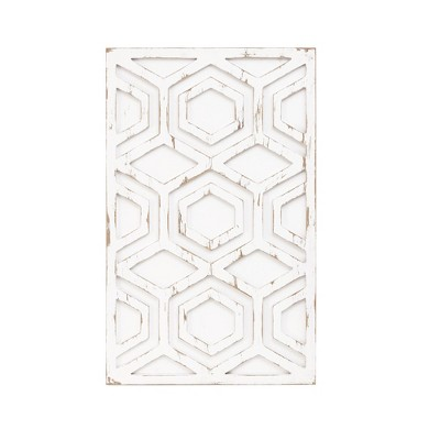 Ralston Wooden Wall Art with Pattern White