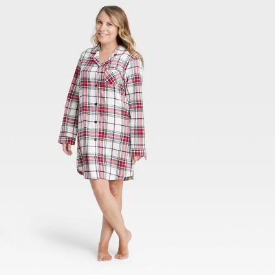 Women's Holiday Plaid Flannel Matching Family Pajama Nightgown - Wondershop™ White