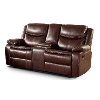 Prestwick Center Console Storage Loveseat with 2 Recliner and Console Brown - HOMES: Inside + Out