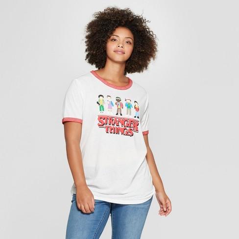12b2516111f Women s Stranger Things Plus Size Short Sleeve Character Graphic T-Shirt ( Juniors ) White