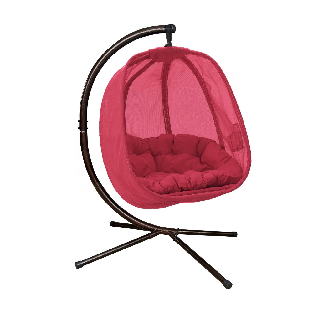Image of Hanging Egg Chair with Stand - Red - FlowerHouse