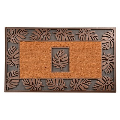 HomeTrax Cocoa Mat Doormat - Cocoa with Leaf (22  x 36 )