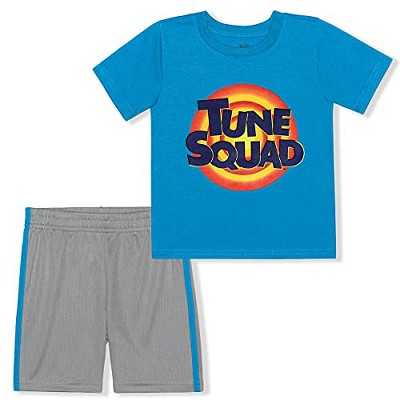 Warner Bros Boy's 2-Pack Tune Squad Looney Tunes Graphic Tee and Active Short Playwear Set - Blue, Size 2T