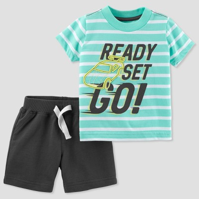 Baby Boys' 2pc Stripe Cars Shorts Set - Just One You® made by carter's Turquoise 9M