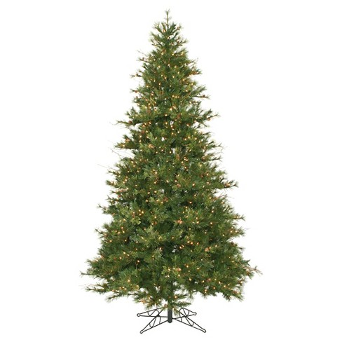 9ft Pre Lit Led Artificial Christmas Tree Full Douglas Fir Teardrop Garland Clear Lights