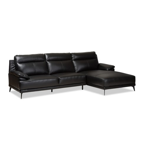 Rabbie Modern And Contemporary Leather Right Facing Chaise 2pc ...