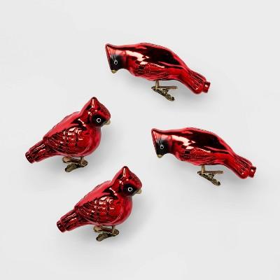 4ct Glass Christmas Ornament Set Cardinals Red - Wondershop™