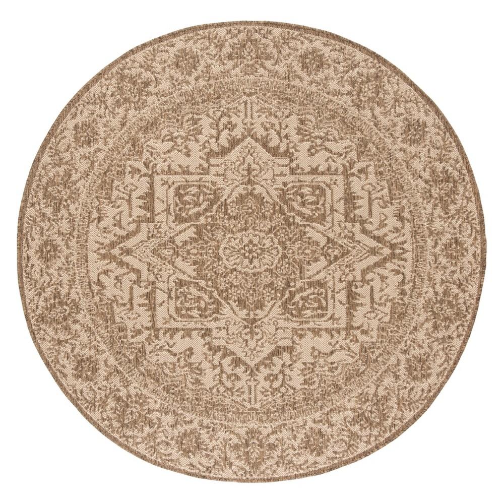 6'7 Medallion Loomed Round Area Rug Cream/Beige (Ivory/Beige) - Safavieh