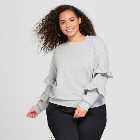 Women's Plus Size Long Sleeve Flounce Trim Sweatshirt - Who What Wear™ Gray 1X - image 1 of 3
